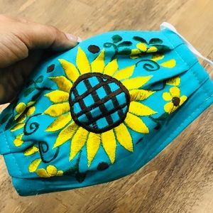 Embroidered Sunflower Face Mask Teal Mint Back